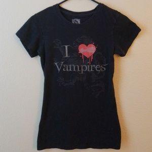 Tops - I ❤ Vampires Black Shirt Size Small Halloween